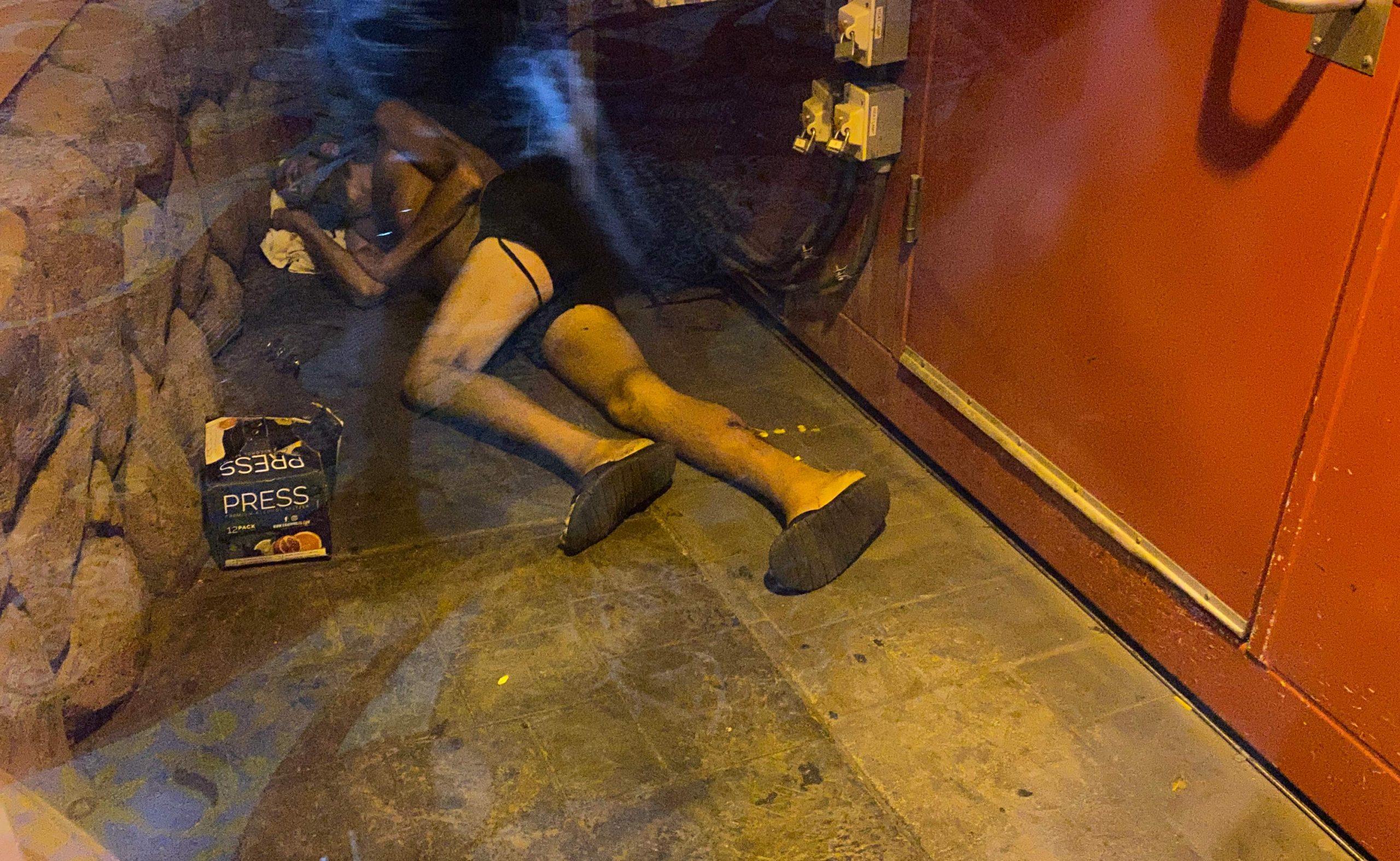 Addict outside Casino Royale