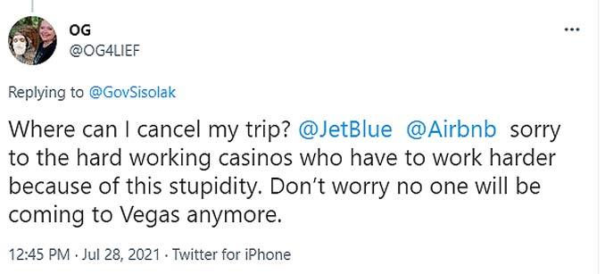 Las Vegas Trip Cancellation due to Sisolak Mask Mandates