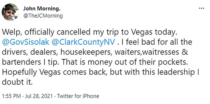 People cancelling Las Vegas Trips  due to New Mask Mandates