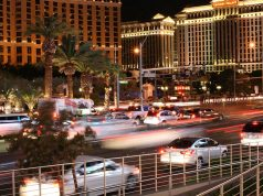 Vehicles driving on the Las Vegas Strip
