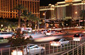 Vehicles driving on the Las Vegas Strip