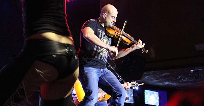 Casey Donahew's Fiddle Player at the NFR Vegas Rodeo
