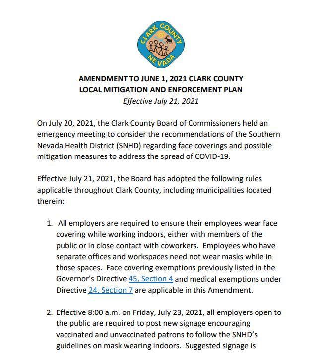 Clark County Covid Mandates
