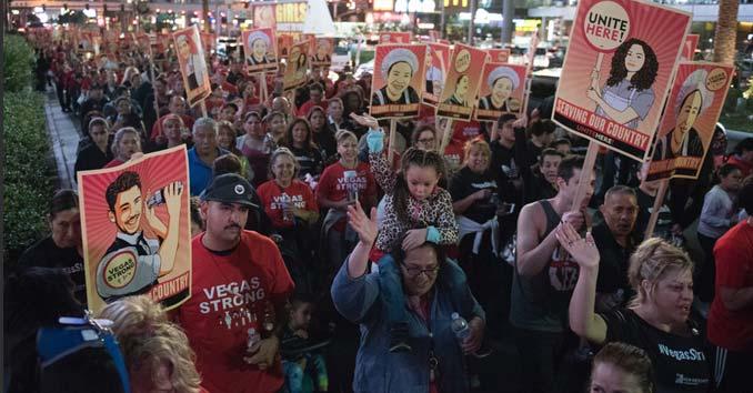 Union Protesters Shutting Down the Las Vegas Strip