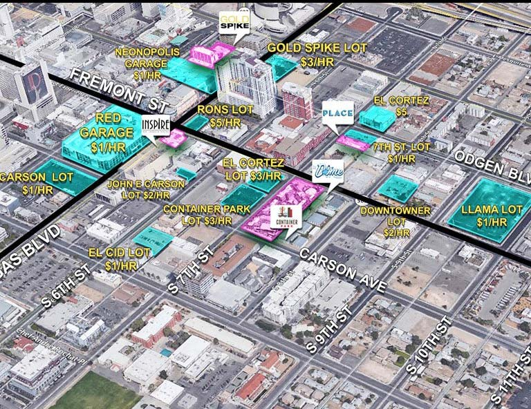 Downtown Las Vegas Parking Map