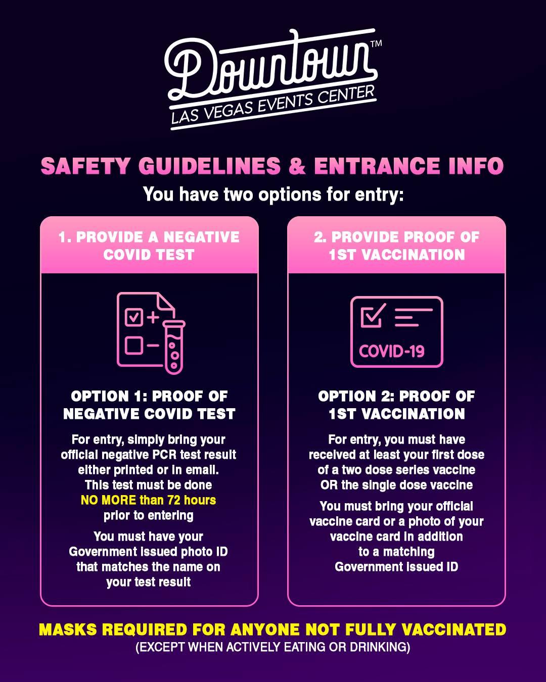 Downtown Las Vegas Events Center vaccine for concerts