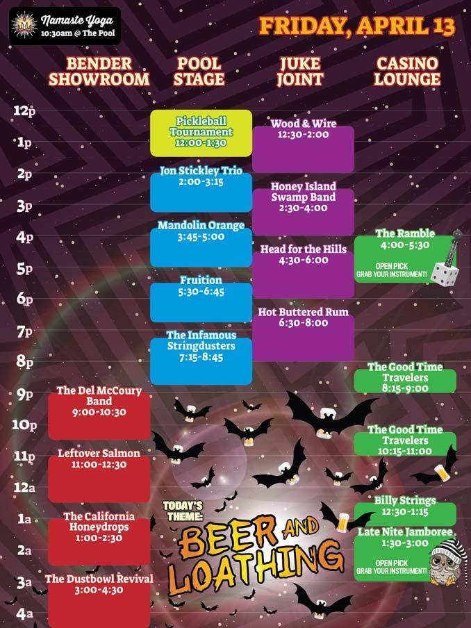 Bender Jamboree Friday Band Lineup Schedule