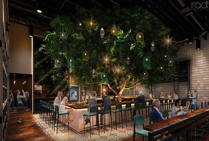 Indoor Trees at the Treehouse Bar