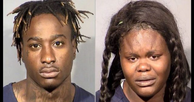 Phillip Nichols, 25, and Ledaxjia Montgomery, 19, were arrested Wednesday after police said Nichols shot three people on Las Vegas Blvd.