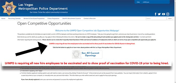 Requiring Vaccination for all new Las Vegas Metropolitan Police Department Hires notice was recently added to the employment page.