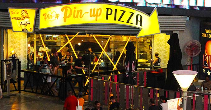 Pin-up Pizza right in front of Planet Hollywood on the Las Vegas Strip