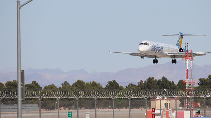 Photo of Allegiant Airlines Jet landing at McCarran Airport take from the Observation Parking Lot