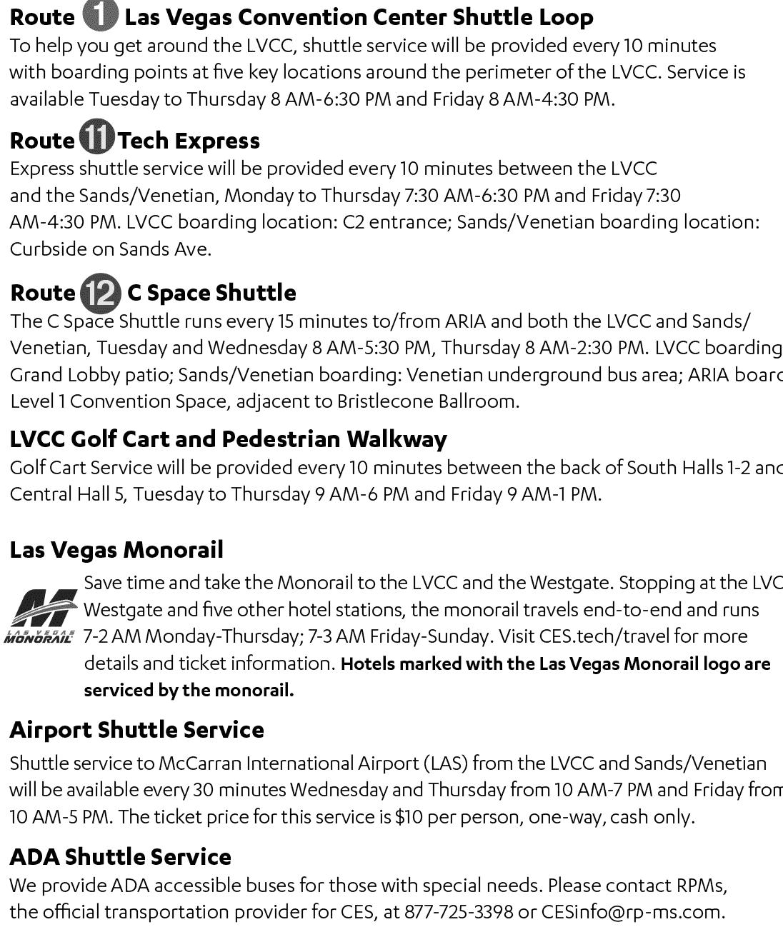 CES Shuttle Routes