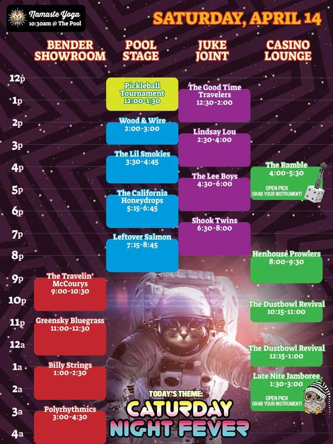 Bender Jamboree Saturday Band Lineup Schedule