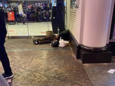 homeless in doorways of the strip hotels