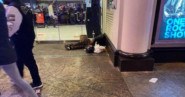 homeless in doorways of the strip hotels