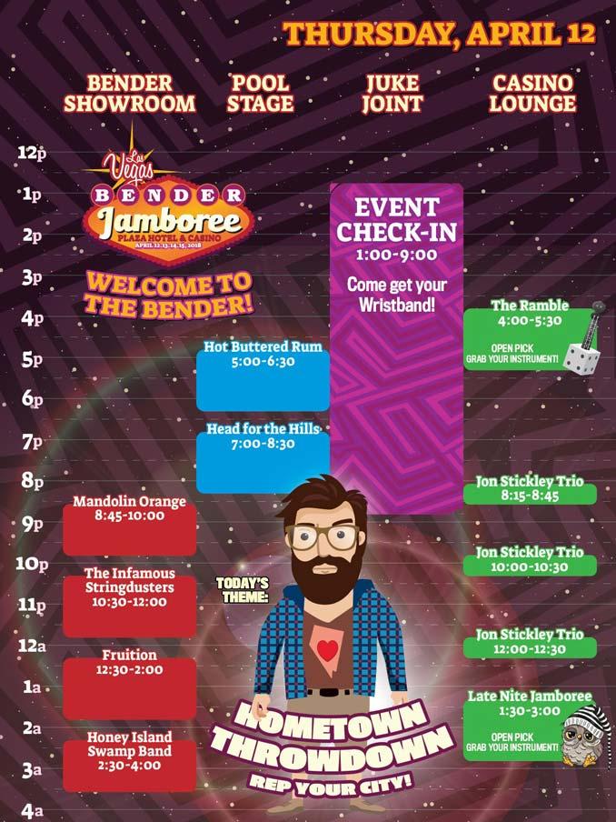Bender Jamboree Thursday Band Lineup Schedule
