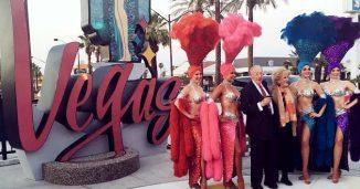 Las Vegas Mayors in Front of Downtown Las Vegas Sign