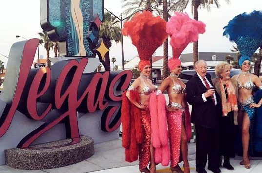 Las Vegas Mayors in Front of Downtown Las Vegas Sign