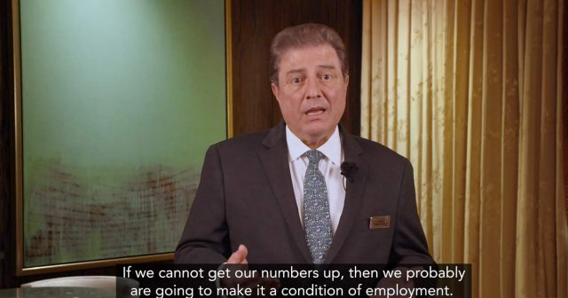 George Markantonis, President and Chief Operating Officer of The Venetian & Palazzo threatens workers in leaked internal video that if they don't take the vaccine, he will make it a condition of employment!